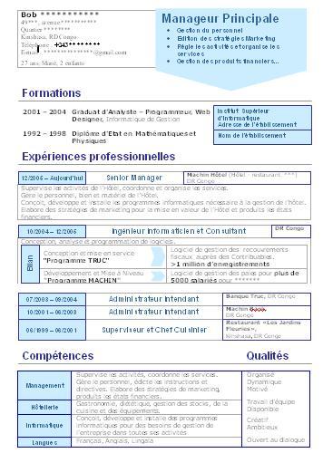 resume format  mise en forme de son cv